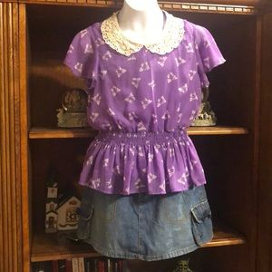 Beautees size L 14 purple top with bow design